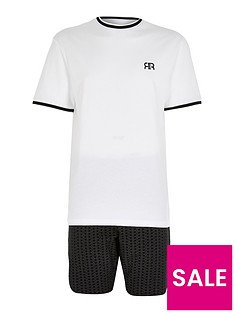 river-island-white-tipped-tee-and-mono-shorts-set
