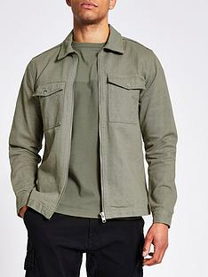 river-island-long-sleeved-zip-pocket-overshirt-green