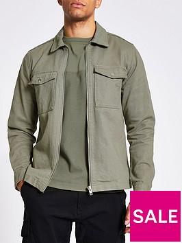 river-island-long-sleeved-zip-pocket-overshirt-green