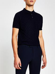 river-island-short-sleeve-knitted-polo-navy