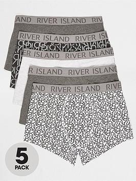 river-island-giant-monogram-5-pack-trunks-grey