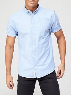 river-island-short-sleevenbspregular-fit-oxford-shirt-blue