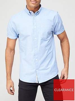 river-island-short-sleevenbspregular-fit-oxford-shirt-blue