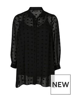 evans-dobby-dipped-back-shirt-black