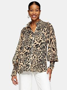 topshop-animal-shirred-blouse-monochrome