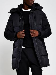 river-island-nylon-faux-fur-trimmed-parka-jacket-black