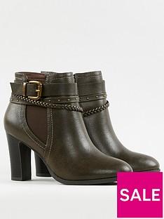 wallis-plaited-strap-elastic-gusset-high-heeled-boot-khaki
