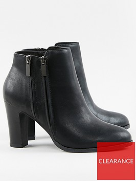 wallis-double-zip-high-heel-casual-boots-black