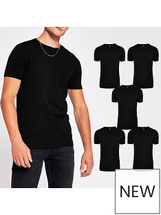 river-island-5-packnbspshort-sleeve-muscle-t-shirtnbsp--black