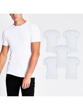 river-island-5-packnbspshort-sleeve-muscle-t-shirt-white