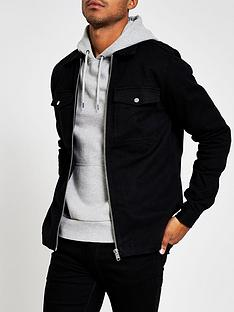 river-island-river-island-black-long-sleeved-zip-double-pocket-overshirt
