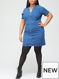 v-by-very-curve-v-neck-denim-dress-mid-wash