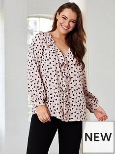 evans-blush-frill-heart-print-blouse