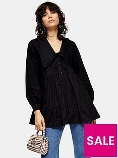 topshop-poplin-ruffle-collar-blouse--nbspblack