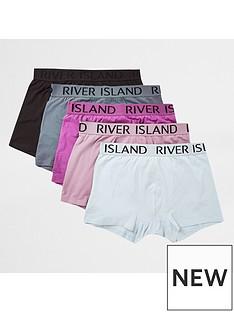 river-island-logo-wasitband-trunks-5-pack-purplenbsp