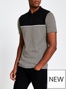 river-island-colour-block-knitted-polo-brown