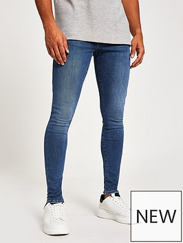 river-island-washed-spary-on-fit-jeans-mid-blue