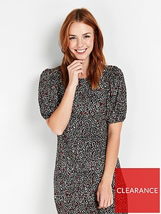 wallis-confetti-frill-hem-bubble-sleeve-dress-red
