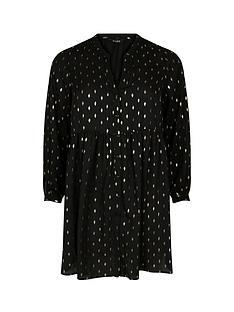 evans-foil-button-through-tunic-black