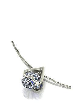 Moissanite 9Ct White Gold 1Ct Total Heart Pendant