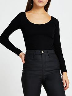 ri-petite-scoop-neck-jersey-top-black