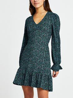 ri-petite-frill-hem-printed-mini-dress-blue