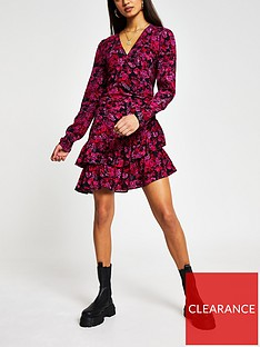 river-island-printed-wrap-mini-dress-red