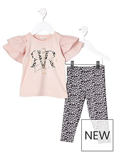 river-island-mini-girls-frill-t-shirt-amp-leopard-legging-set--nbsppink