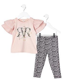 river-island-mini-girls-frill-t-shirt-amp-leopard-legging-set--nbsppink