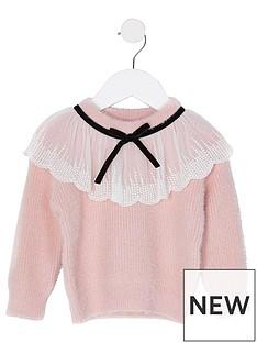 river-island-mini-mini-girls-lace-collar-knitted-jumper--nbsppink
