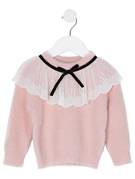 river-island-mini-mini-girls-lace-collar-knitted-jumper--nbsppink