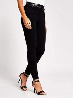 river-island-button-tab-skinny-ponte-leggings-black