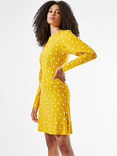 dorothy-perkins-puff-sleeve-spot-jersey-fit-amp-flare-dress-ochrenbsp