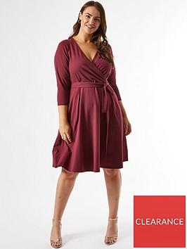 dorothy-perkins-curvenbsp34-sleeve-wrap-dress-berrynbsp