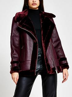river-island-shearling-aviator-jacket-dark-red