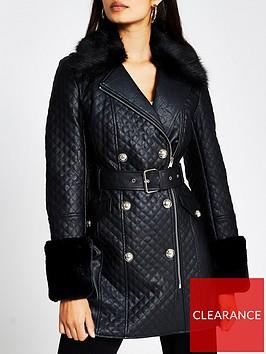 river-island-faux-fur-cuff-quilted-pu-coat-black