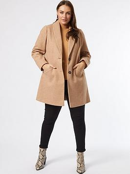 dorothy-perkins-curve-minimal-shawl-collar-coat-camel
