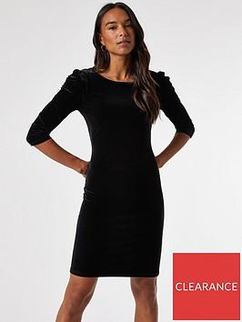 dorothy-perkins-velvet-puff-sleeve-bodycon-dress-black