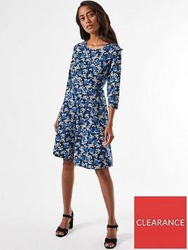 dorothy-perkins-petite-ditsy-printnbspfit-amp-flare-dress-blue