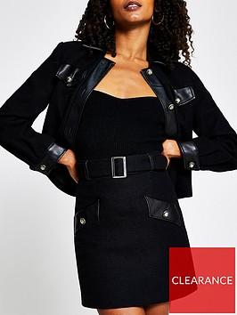 river-island-pu-trim-boucle-mini-skirt-black