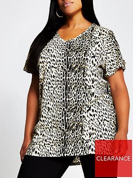 ri-plus-animal-print-button-shoulder-t-shirt-print