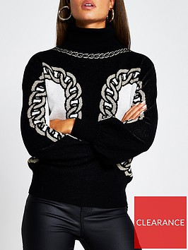 river-island-chain-print-knitted-jumper-black
