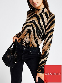 river-island-tiger-print-knitted-top-brown