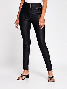 river-island-zip-pocket-pu-skinny-trouser-black