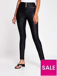 river-island-zip-pocket-pu-skinny-trouser-black