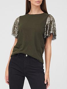 river-island-sequin-angel-sleeve-t-shirt-khaki