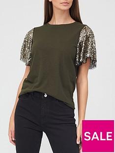river-island-sequin-angel-sleeve-t-shirt-khaki
