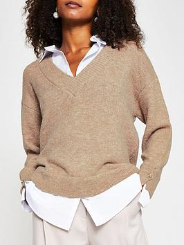 River Island Poplin Knit 2-In-1 Shirt Jumper - Taupe, Taupe, Size Xs, Women