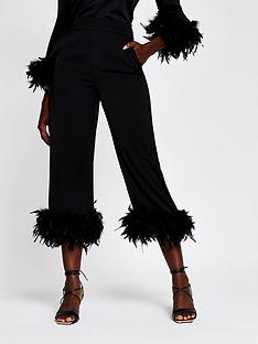 river-island-faux-feather-hem-trouser-black