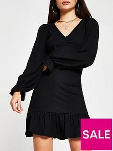 river-island-frill-hem-mini-dress-black